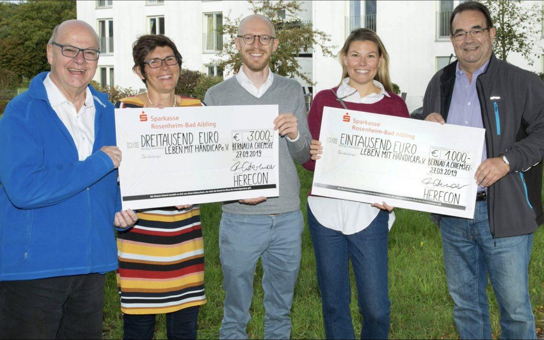 HERECON Unternehmensgruppe aus Prien unterstützt Leben mit Handicap mit 4000€ Spende
